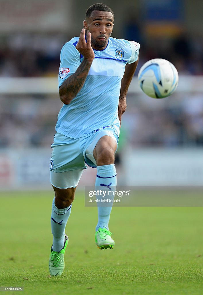 Callum Wilson of Coventry City in action during the Sky Bet League One match between Coventry City and Preston North End at Sixfields on August 25, 2013 in Northampton, England.