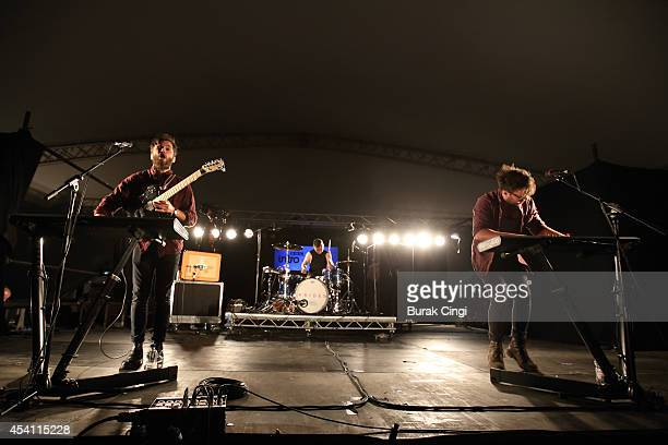 Callum Wiseman Lewis Gardner and Stewart Brock of Prides performs on stage at Reading Festival at Richfield Avenue on August 24 2014 in Reading...