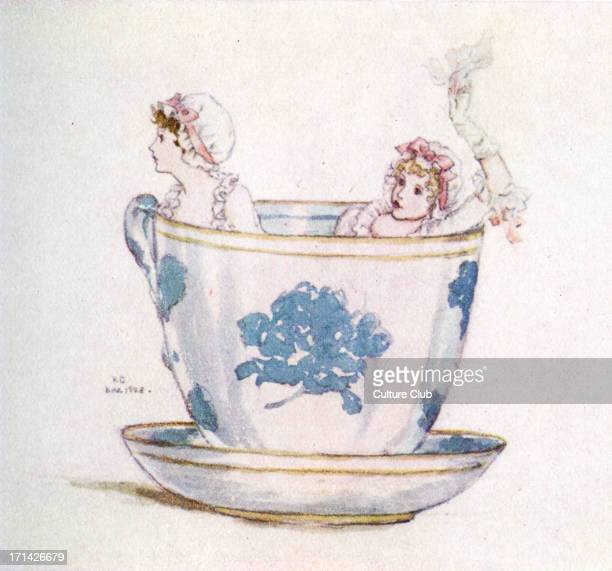 'A calm in a teacup' by Kate Greenaway Fanciful watercolour painting of two girls wearing mob caps and ribbons in a tea cup