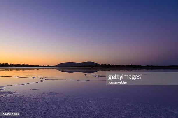 Calm salt lake at dusk, Eyre Peninsula, Australia