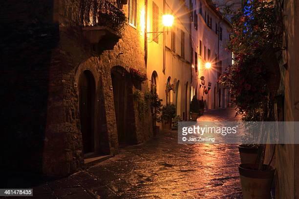 Calm street in Pienza at night