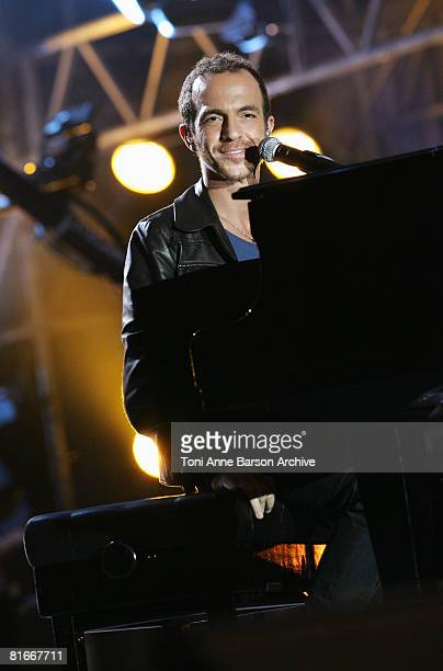 Calogero performs at the France 2 Television's 'Fete de la Musique' at the Auteuil Horse track on June 21 2008 in Paris France