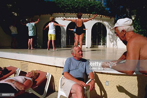 Calpe Alicante Pensioners doing exercises in activities of a hotel