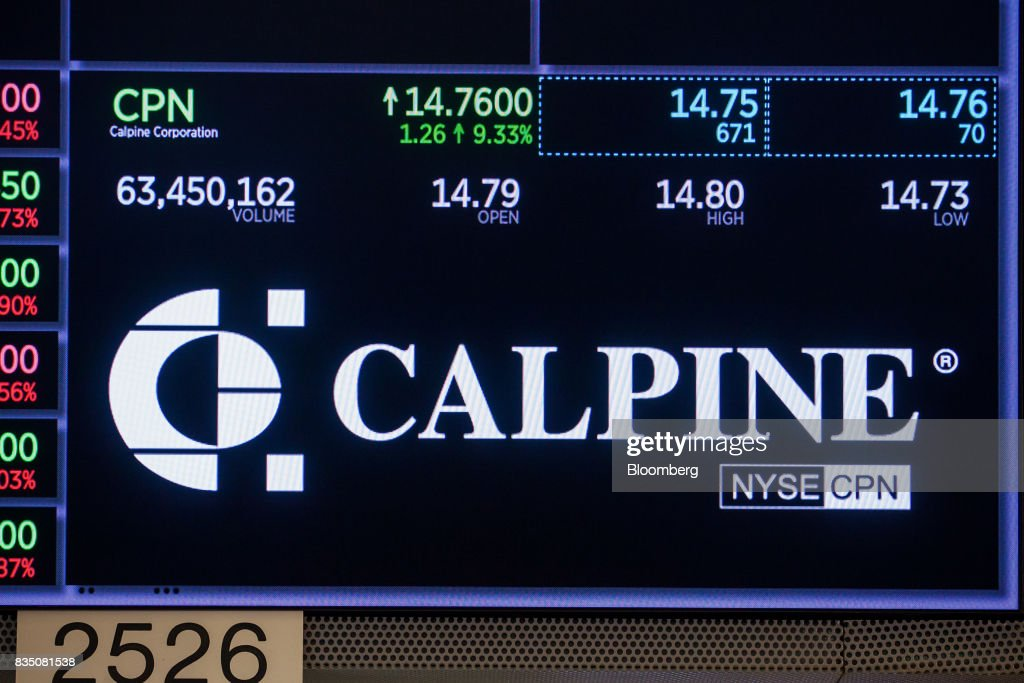 Calpine Corp. signage is displayed on a monitor on the floor of the New York Stock Exchange (NYSE) in New York, U.S., on Friday, Aug. 18, 2017. Stocks were mixed and the S&P 500 Index turned higher as investors digested the political upheaval in the U.S. and the latest terrorist attack in Europe. Photographer: Michael Nagle/Bloomberg via Getty Images