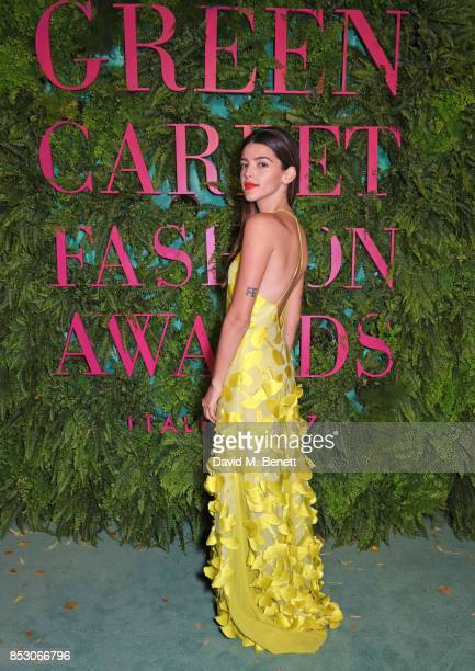 Calu Rivero attends the Green Carpet Fashion Awards Italia wearing Laura Strambi for the Green Carpet Challenge at Teatro Alla Scala on September 24...