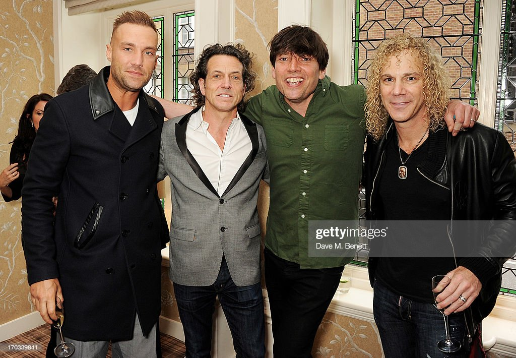 Calum Best, Stephen Webster, Alex James and Bon Jovi keyboardist <a gi-track='captionPersonalityLinkClicked' href=/galleries/search?phrase=David+Bryan&family=editorial&specificpeople=211281 ng-click='$event.stopPropagation()'>David Bryan</a> attend a private dinner previewing the new 'Alex James Presents' Blue Monday cheese at The Cadogan Hotel on June 11, 2013 in London, England.
