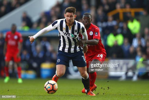 Calum Butcher of Millwall attempts to get away from Nampalys Mendy of Leicester City during The Emirates FA Cup Fifth Round match between Millwall...