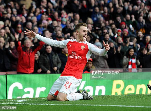 Calum Chambers celebrates scoring a goal for Arsenal during the match between Arsenal and Burnley in the FA Cup 4th round at Emirates Stadium on...