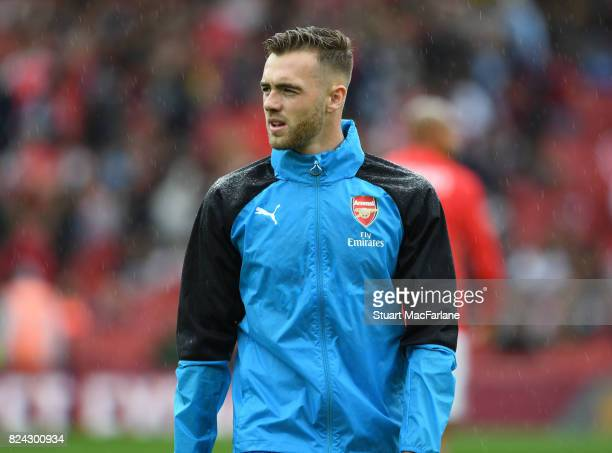 Calum Chambers of Arsenal before the Emirates Cup match between Arsenal and SL Benfica at Emirates Stadium on July 29 2017 in London England