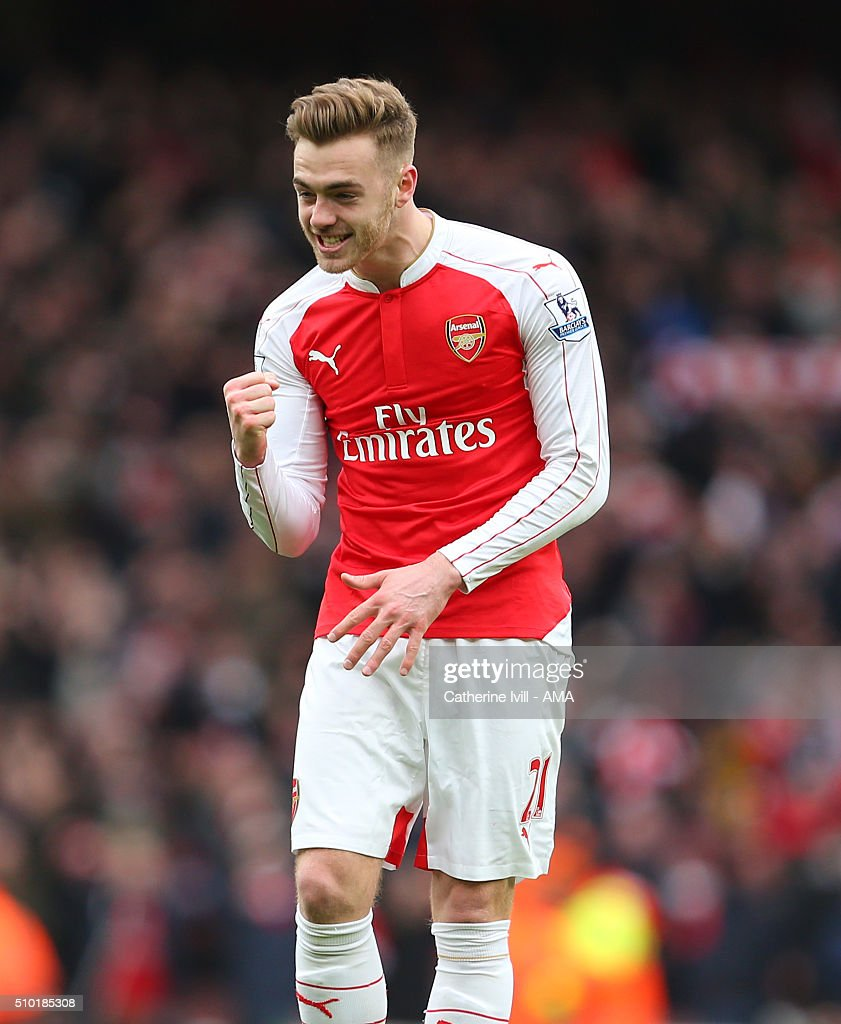 <a gi-track='captionPersonalityLinkClicked' href=/galleries/search?phrase=Calum+Chambers+-+Soccer+Player&family=editorial&specificpeople=10599271 ng-click='$event.stopPropagation()'>Calum Chambers</a> of Arsenal celebrates after the Barclays Premier League match between Arsenal and Leicester City at the Emirates Stadium on February 14, 2016 in London, England.