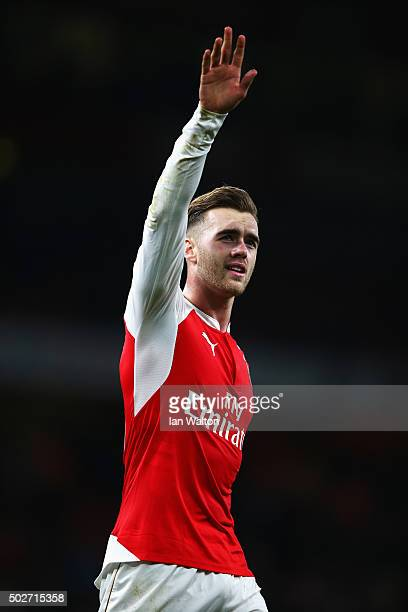 Calum Chambers of Arsenal celebrates his team's 20 win in the Barclays Premier League match between Arsenal and AFC Bournemouth at Emirates Stadium...