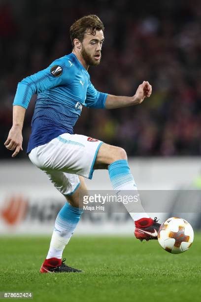 Calum Chambers of Arsenal controls the ball during the UEFA Europa League group H match between 1 FC Koeln and Arsenal FC at RheinEnergieStadion on...