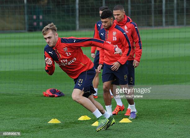 Calum Chambers of Arsenal during a training session at London Colney on October 23 2015 in St Albans England