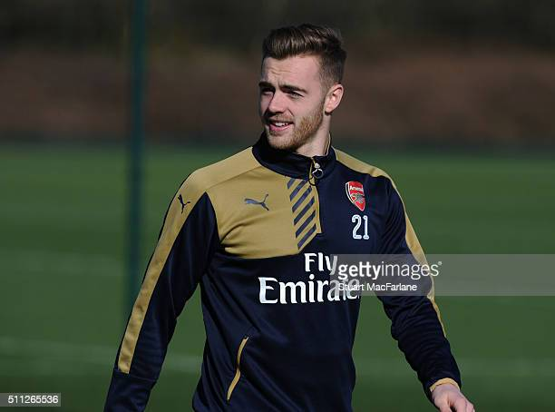 Calum Chambers of Arsenal during a training session at London Colney on February 19 2016 in St Albans England