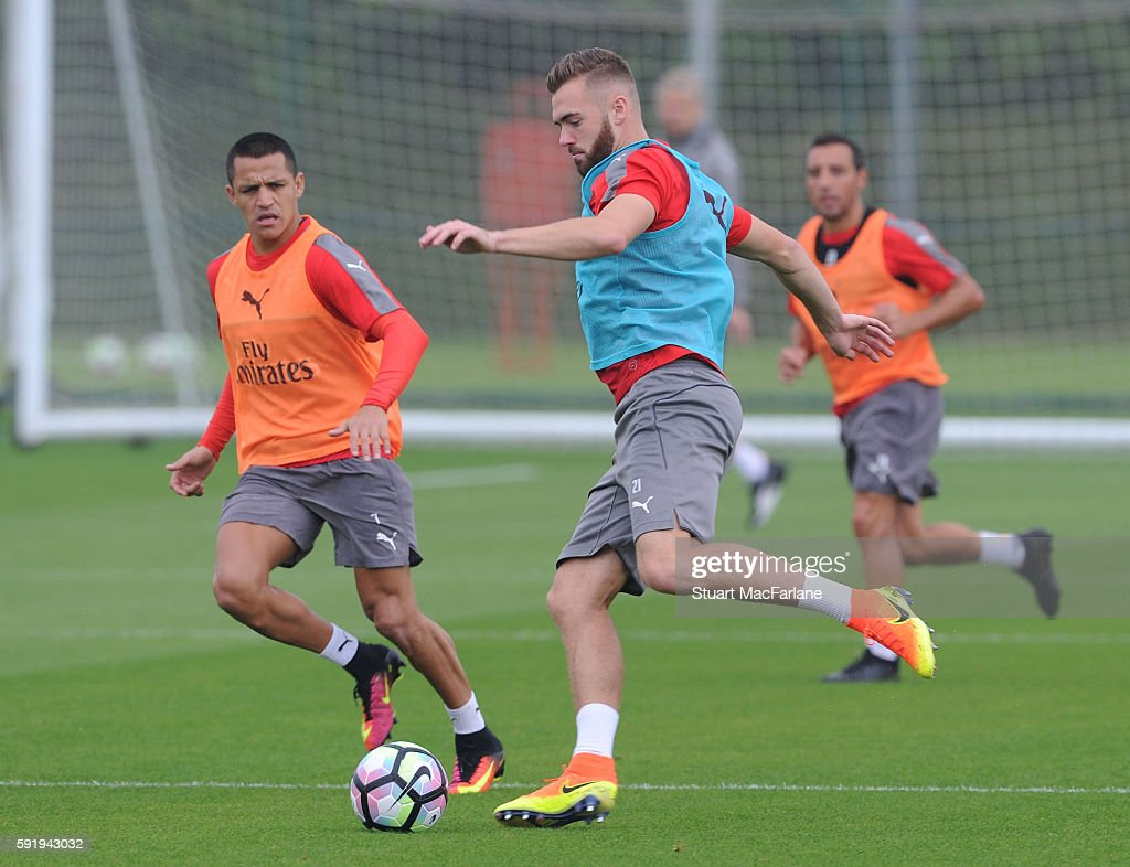 Calum Chambers of Arsenal during a training session at London Colney on August 19 2016 in St Albans England