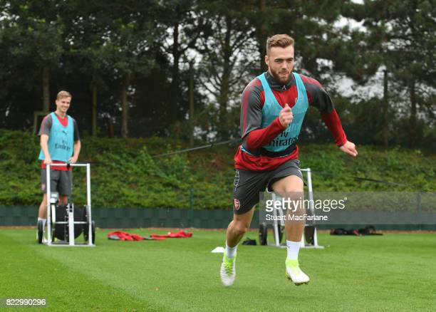 Calum Chambers of Arsenal during a training session at London Colney on July 26 2017 in St Albans England