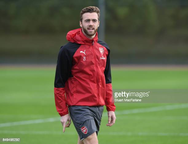 Calum Chambers of Arsenal during a training session at London Colney on September 19 2017 in St Albans England