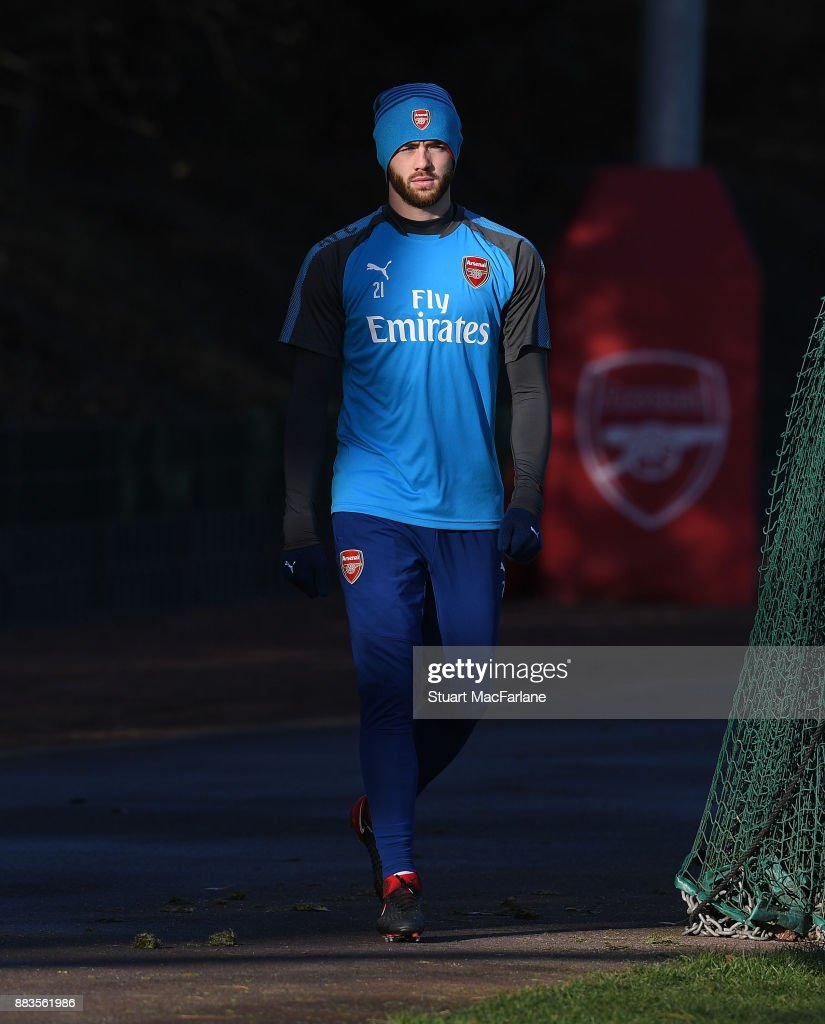 Calum Chambers of Arsenal during a training session at London Colney on December 1, 2017 in St Albans, England.