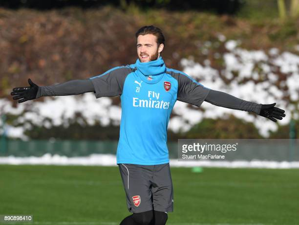 Calum Chambers of Arsenal during a training session at London Colney on December 12 2017 in St Albans England