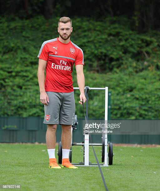 Calum Chambers of Arsenal during a training session on August 10 2016 in St Albans England