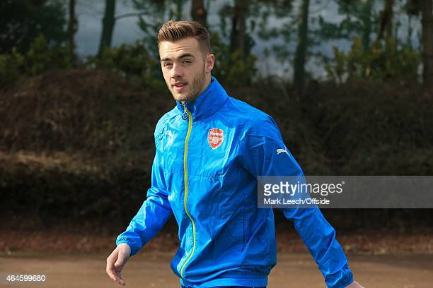 Calum Chambers of Arsenal during the Arsenal training session ahead of the UEFA Champions League round of 16 match against AS Monaco at London Colney...