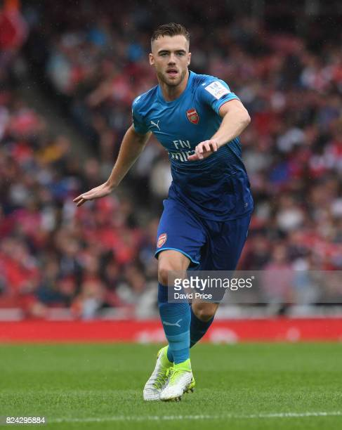 Calum Chambers of Arsenal during the match between Arsenal and SL Benfica at Emirates Stadium on July 29 2017 in London England