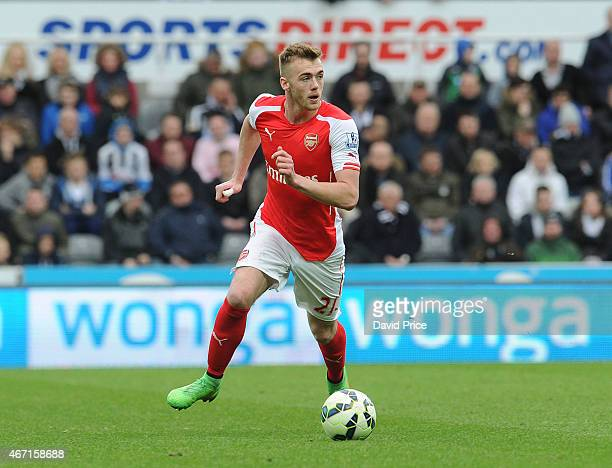 Calum Chambers of Arsenal during the match between Newcastle United and Arsenal in the Barclays Premier League at St James' Park on March 21 2015 in...