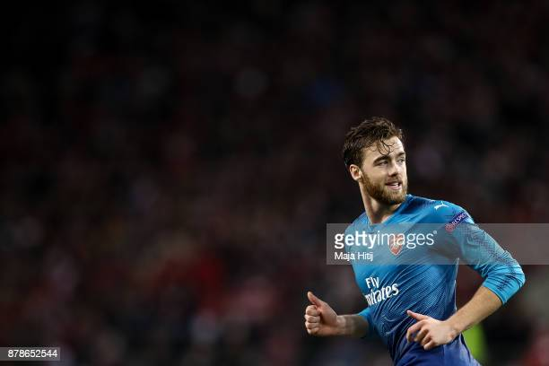 Calum Chambers of Arsenal reacts during the UEFA Europa League group H match between 1 FC Koeln and Arsenal FC at RheinEnergieStadion on November 23...