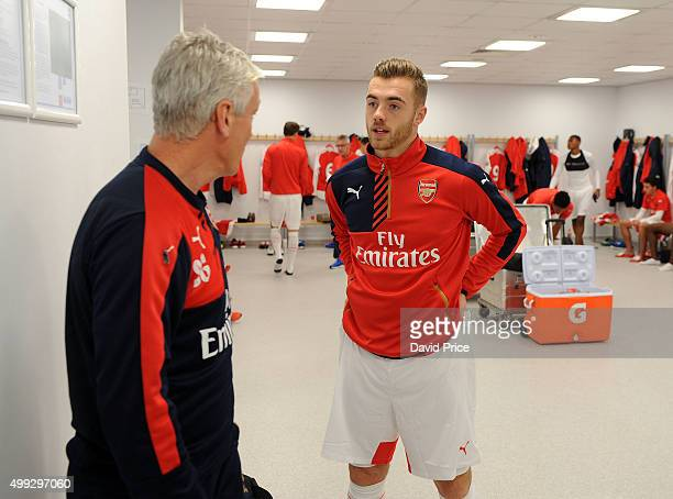 Calum Chambers of Arsenal talks to U21 manager Steve Gatting before the match between Brighton and Hove Albion U21 and Arsenal U21 at Amex Stadium on...