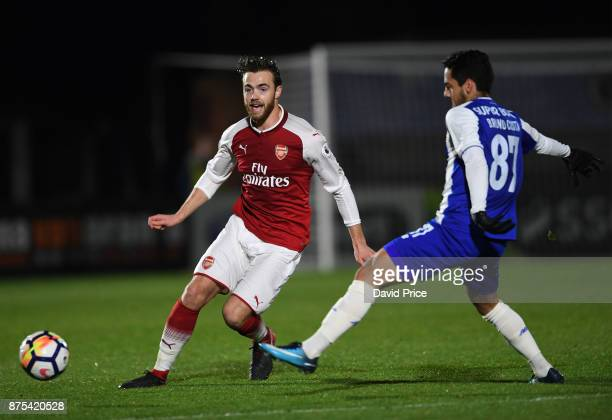 Calum Chambers of Arsenal under pressure from Bruno Costa of Porto during the match between Arsenal U23 and Porto at Meadow Park on November 17 2017...