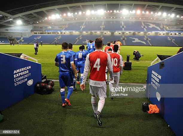 Calum Chambers of Arsenal walks out of the tunnel before the match between Brighton and Hove Albion U21 and Arsenal U21 at Amex Stadium on November...
