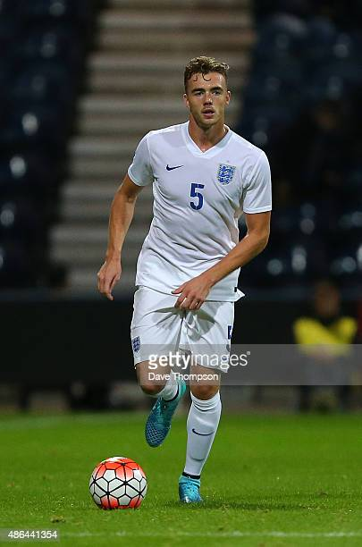 Calum Chambers of England during the International friendly match between England U21 and USA U23 at Deepdale on September 3 2015 in Preston England