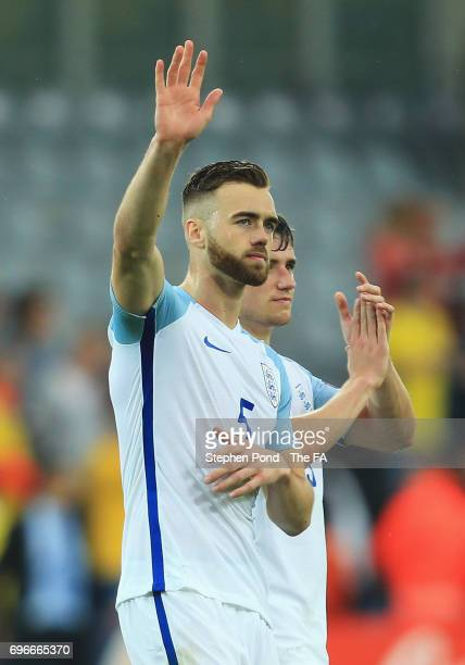 Calum Chambers of England salutes the travelling fans after the UEFA European Under21 Championship match between Sweden and England at Kielce Stadium...