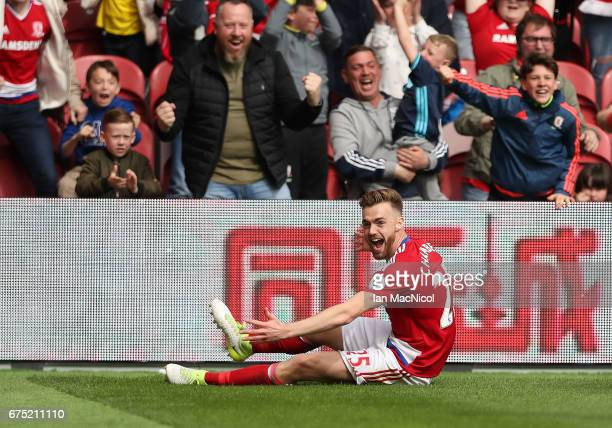 Calum Chambers of Middlesborough celebrates after he scores during the Premier League match between Middlesbourgh and Manchester City at Riverside...