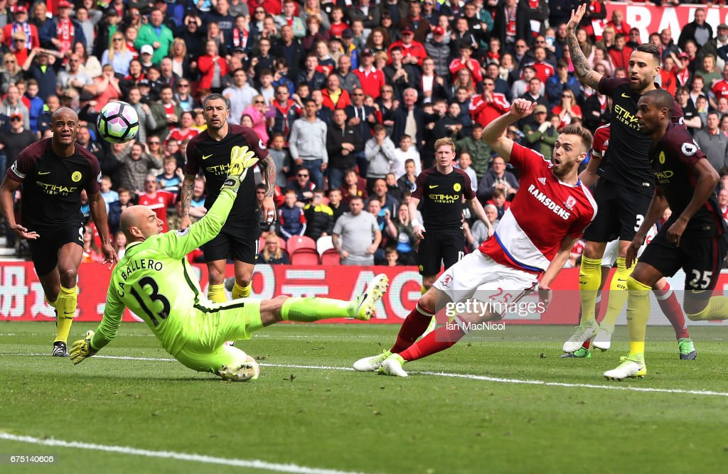 Calum Chambers of Middlesborough scores his team's second goal during the Premier League match between Middlesbourgh and Manchester City at Riverside Stadium on April 30, 2017 in Middlesbrough, England.
