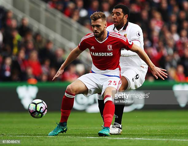 Calum Chambers of Middlesborough vies with Troy Deeney of Watford during the Premier League match between Middlesbrough and Watford at Riverside...