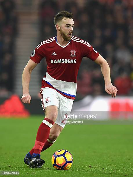 Calum Chambers of Middlesbrough during the Premier League match between Middlesbrough and West Ham United at Riverside Stadium on January 21 2017 in...