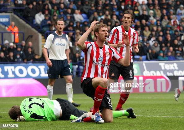 Calum Davenport of Sunderland afetr a missed chance during the Barclays Premiership match between Bolton Wanderers and Sunderland at the Reebok...