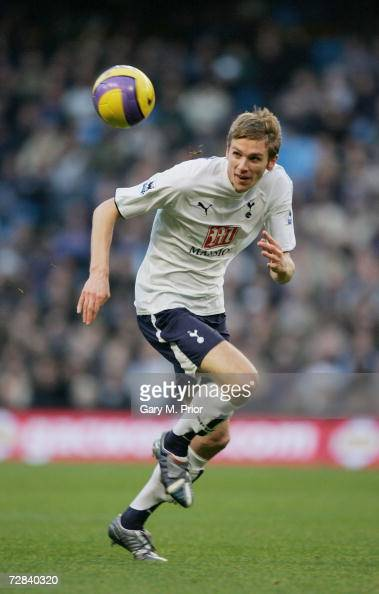 Calum Davenport of Tottenham Hotspur in action during the Barclays Premiership match between Manchester City and Tottenham Hotspur at The City of...