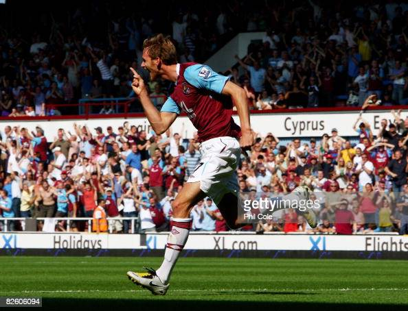 Calum Davenport of West Ham United celebrates after scoring during the Barclays Premier League match between West Ham United and Blackburn Rovers at...