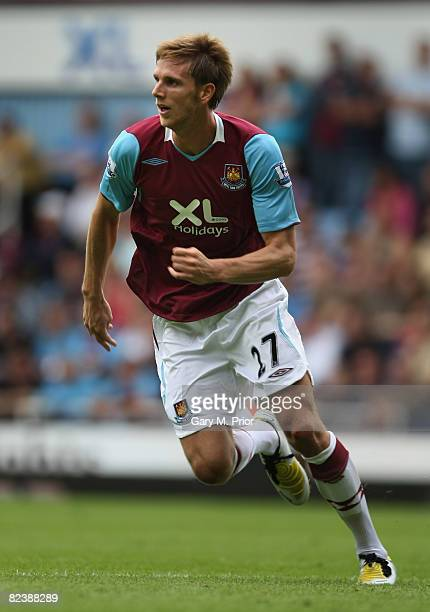 Calum Davenport of West Ham United in action during the Barclays Premier League match between West Ham United and Wigan Athletic at Upton Park on...
