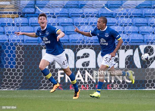 Calum Dyson of Everton celebrates with David Henen after scoring the first goal during the Checkatrade Trophy group match between Bolton Wanderers...
