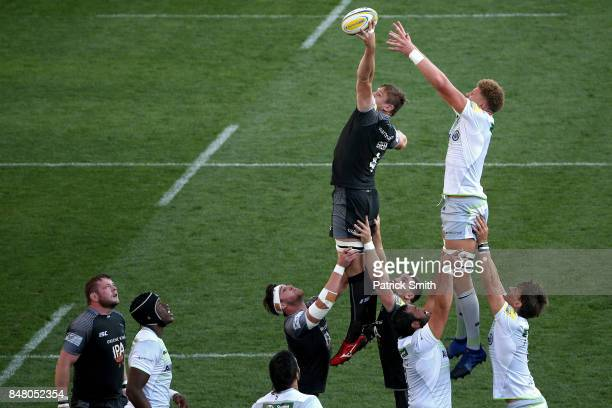Calum Green of the Newcastle Falcons pulls in a inbound pass against the Saracens during a Aviva Premiership match between the Newcastle Falcons and...