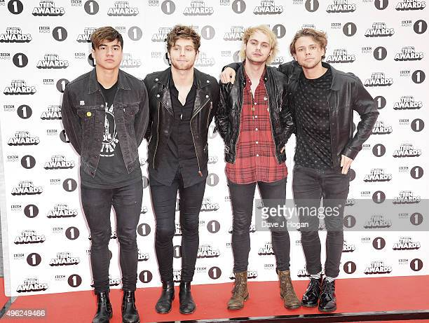 Calum Hood Luke Hemmings Michael Clifford and Ashton Irwin of 5 Seconds of Summer attend the BBC Radio 1 Teen Awards at Wembley Arena on November 8...
