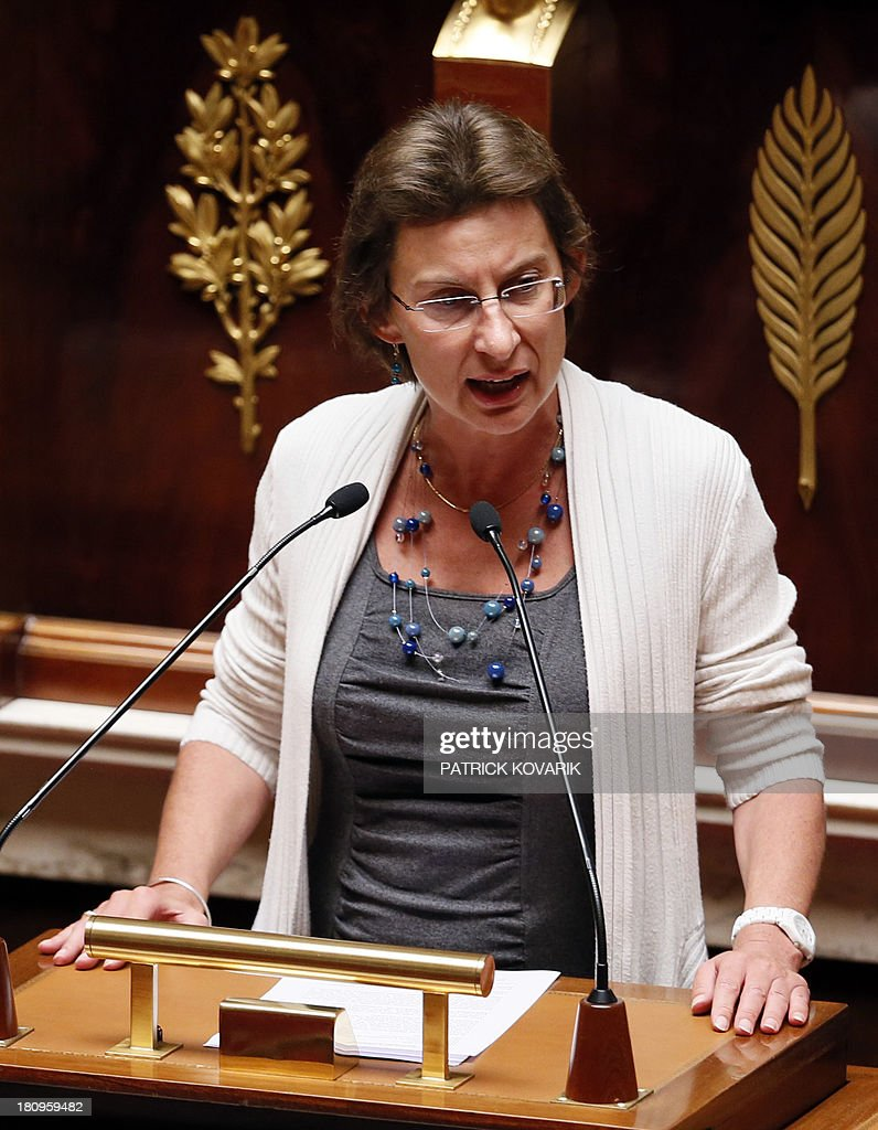 Calvados member of parliament Clotilde Valter during a debate at the National Assembly in Paris on a law aimed at putting pressure on companies leaving an industrial site unused to transfer the property and site to another company or the state, on September 18, 2013.