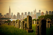Calvary Cemetery in Queens with view on New York, USA