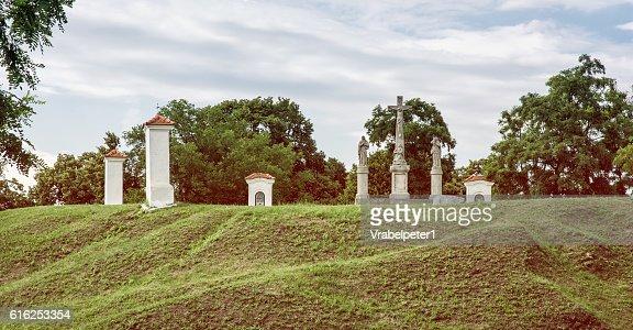 Calvary in Skalica city, Slovakia, retro photo filter : Foto de stock