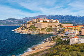 Calvi Citadel and Old city seen from Revellata Peninsula, Balagne, haute-Corse, France