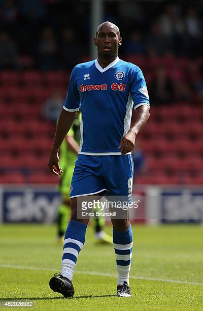 Calvin Andrew of Rochdale in action during the pre season friendly match between Rochdale and Huddersfield Town at Spotland on July 18 2015 in...