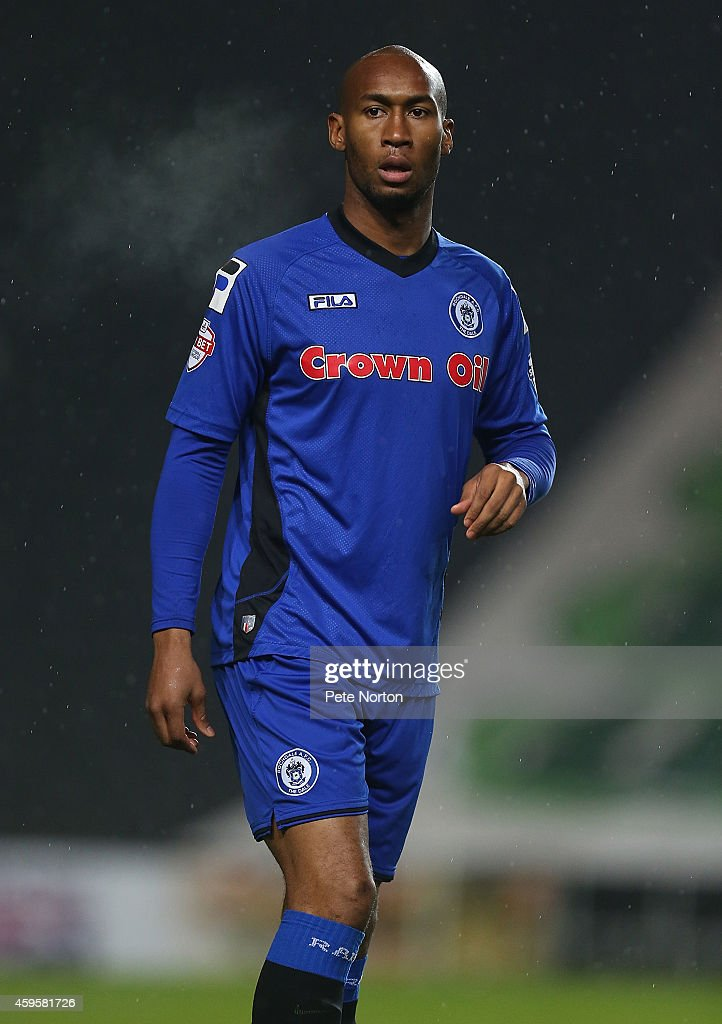 Calvin Andrew of Rochdale in action during the Sky Bet League One match between MK Dons and Rochdale at Stadium mk on November 25 2014 in Milton...